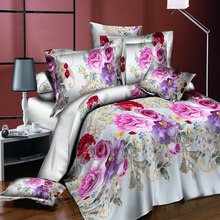 3d flower print quilt duvet cover pillow case bedding set romantic home decor Skin-friendly soft fabric Good breathability(China)