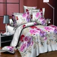3d flower print quilt duvet cover pillow case bedding set romantic home decor Skin friendly soft fabric Good breathability