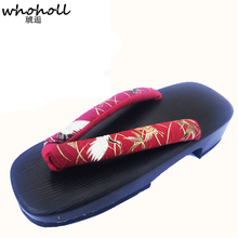 WHOHOLL Women flip flops (no Wood) Japanese Clogs PU Soft Thick Bottom Slippers Summer None-Slip Style