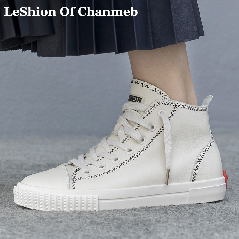 2531dacfc5f4 woman 2019 top quality cow leather high top sneakers lace up casual shoes  girl s trainers leisure shoes lady flats snickers new