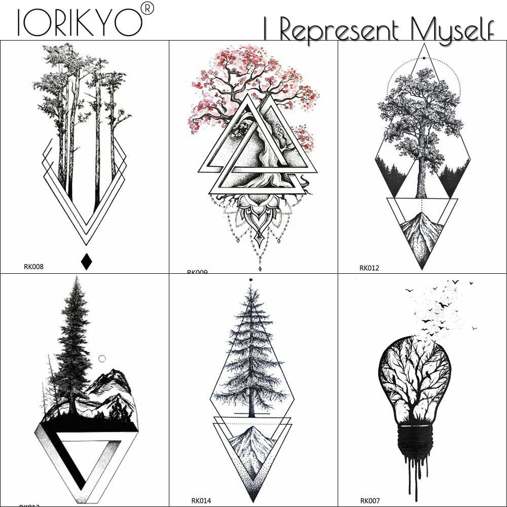 IORIKYO Black Geometric Old Pine Tree Temporary Tattoo Women Arm Stickers Men Fashion Waterproof Tatoos Forest Tattoo Decals