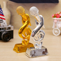 The Music Trophy Gold Microphone Trophy 21 CM Height Music Competition Trophy Nice Gist To Friend