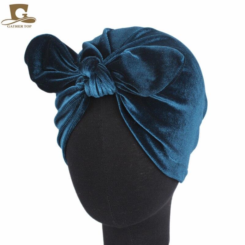 Hot New Winter velvet rabbit ear Turban Hats Women soft chemo hat Hair Accessory Bandana Hairband Chemo Cap