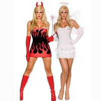 hot sex free shipping Female Angel and Evil costume for halloween one piece dress halloween costume for woman with wing