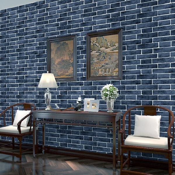 Bacaz синий 3D кирпич обои рулоны для гостиной фон 3d кирпичная стена рулон бумаги 3d обои наклейки декор