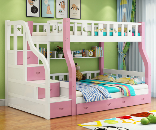 Factory Price Kids Wooden Bunk Bed And Furniture In Bedroom Sets