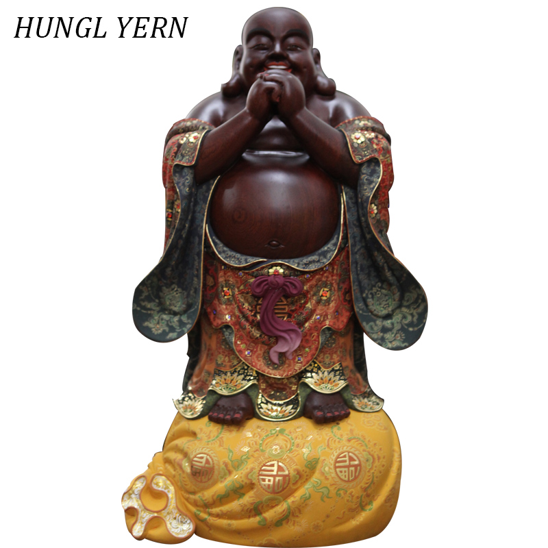 69cm Wooden Sculpture Maitreya Buddha Statues Collection Carved Colored Drawing Budas Statue Hand Made Craft Home Decor Escultur