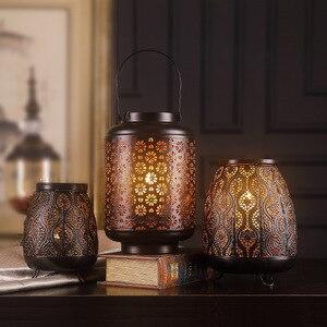 Vintage Hollow świecznik ozdoby świecznik ślubny czarna metalowa latarnia Velas Home rzemieślnicze dekoracje ślubne wyposażenie
