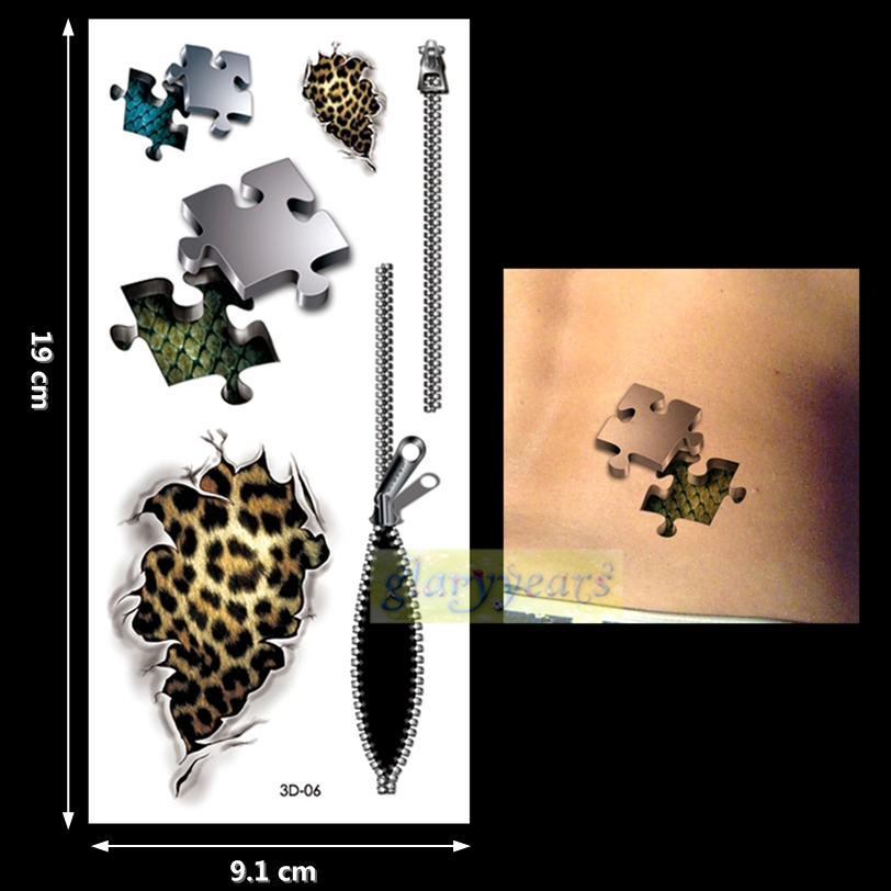 New 1PC Fashion Women Men Waterproof Temporary Tattoo Removable Vivid Body Art 3D-06 Puzzle Wound Leopard Print Zipper Scale