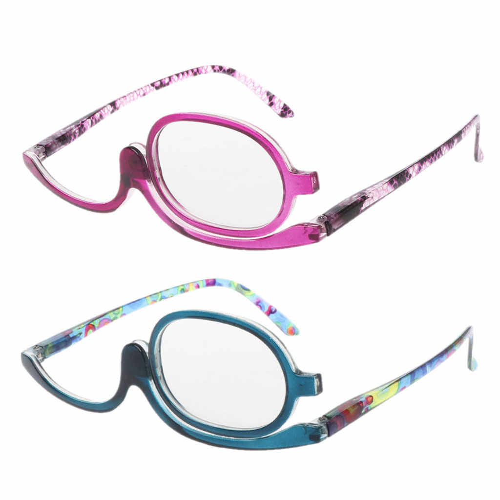 Women Makeup Reading Glasses Rotatable Flip Make Up Eye Glasses Presbyopic +1.00 To +4.0