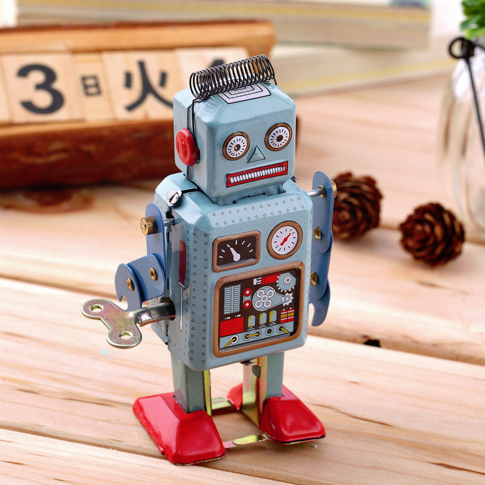 OCDAY 1pc Vintage Mechanical Clockwork Robot Wind Up Metal Walking Robot Action Finger Tin Toys For Children Kids Gift Hot Sale