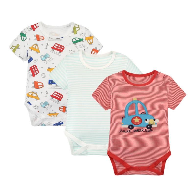 3 Kusů / Lot karikatury Baby Rompers 100% bavlna Krátké rukávy - Oblečení pro miminka