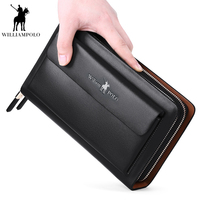 WILLIAMPOLO Men wallet Casual Clutch coins pocket luxury portfolio Double zipper purse High capacity Multifunction Purse PL162