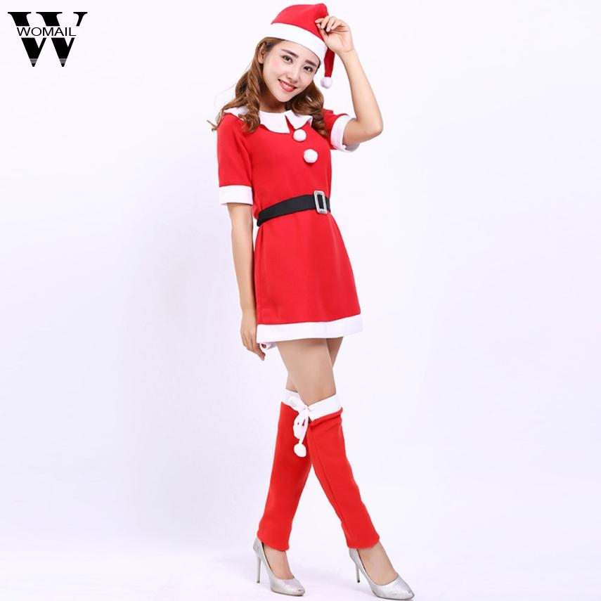 754aea7d1465 2017 Women New Sweet Santa Claus Christmas Clothes Costume Party Cosplay  Outfit Fancy Dress Set Holiday Sets nv7 m30-in Dresses from Women's Clothing  ...