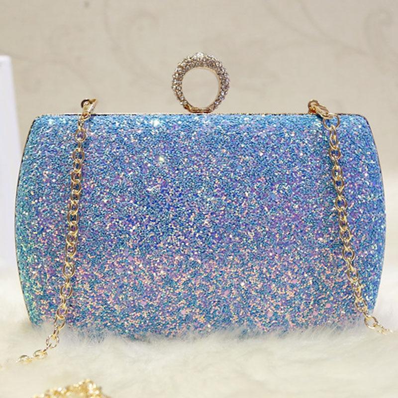 2018 Glitter Sequins Women Evening Bags Diamonds Finger Ring Day Clutches Chain Shoulder Bags Bridal Box Hand Bag Pink Banquet все цены