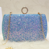2018 Glitter Sequins Women Evening Bags Diamonds Finger Ring Day Clutches Chain Shoulder Bags Bridal Box Hand Bag Pink Banquet