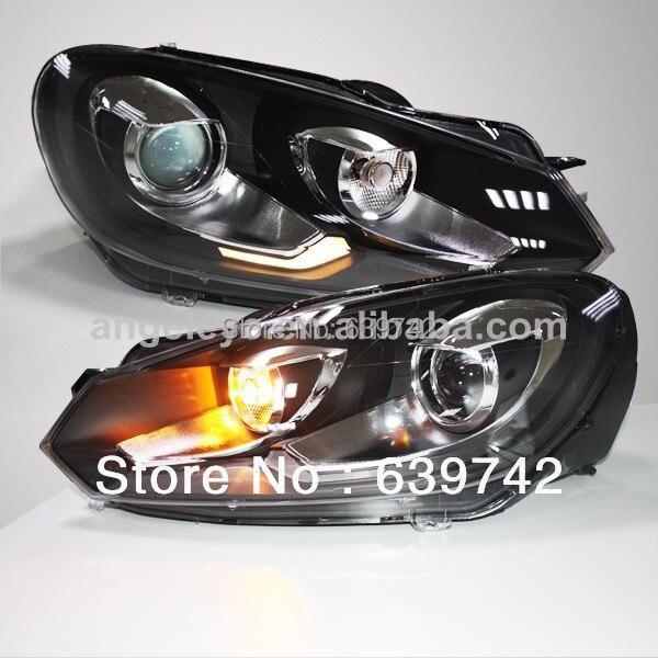 Pro VW Golf 6 LED Head Light s objektivem projektoru 2009-2012 rok GTI Style LD