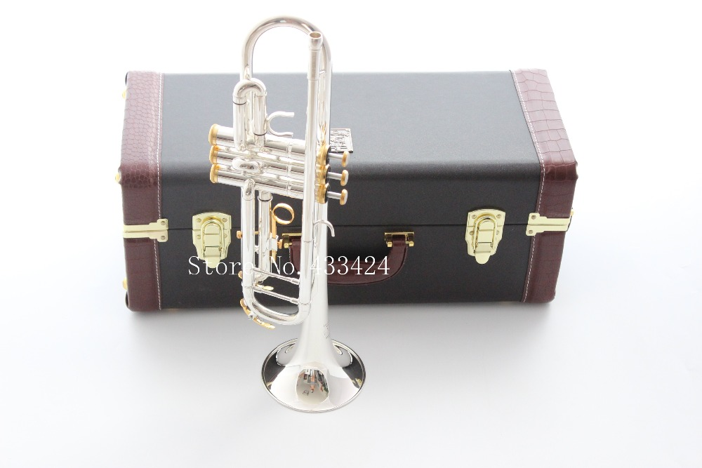 Taiwan Bach Double silver-plated Gold key LT180S37GS Bb trumpet HARD LEATHER case Top musical instruments Brass bugle silver plated double french horn f bb 4 key brand new with case