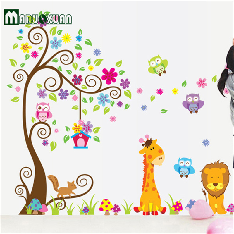 Animal Giraffe Owl Tree Wall Decals Home Decoration Wallpaper Living Room  Sofa Vinyl Wall Stickers For Kids Rooms Home Deco  In Wall Stickers From  Home ...