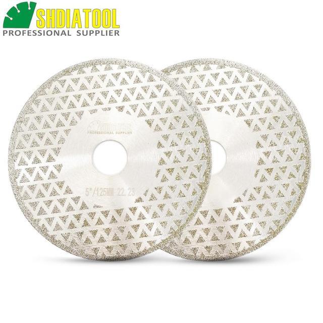 "SHDIATOOL 2pk 5"" Electroplated diamond cutting & grinding disc Bore 22.23 Diameter 125MM for marble granite tile ceramic"