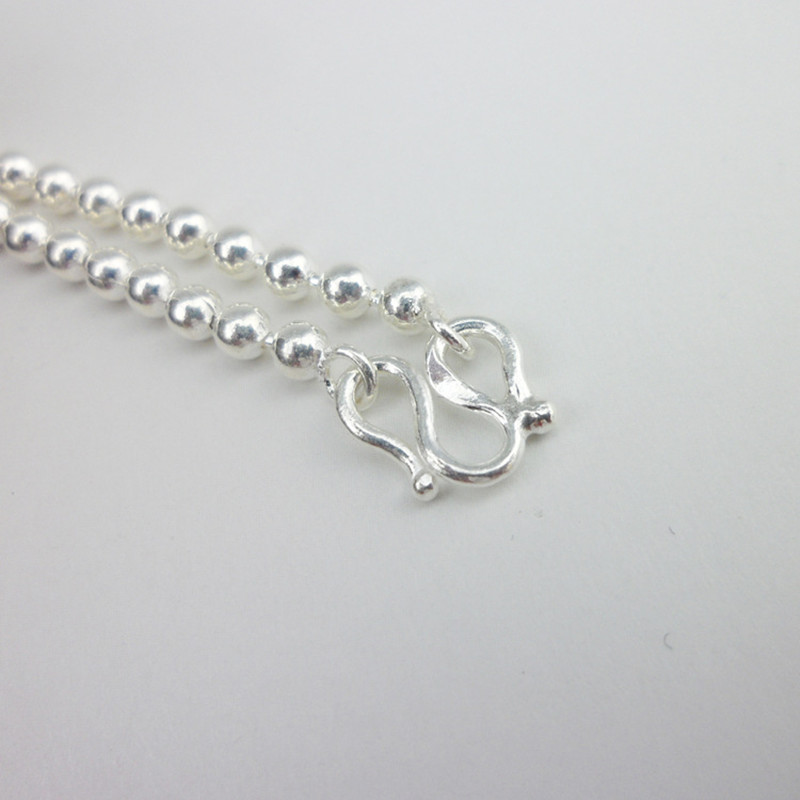 999 Sterling Silver Chain Necklace Women Silver Beads Necklace Men Punk Luxury Jewelry Boho Handmade Ethnic Jewellery Unisex in Chain Necklaces from Jewelry Accessories