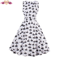 New Flamingo Print Tunic Cotton Dress Women Summer Rockabilly Vintage Dress Female Clothes Swing Robe Z3D49