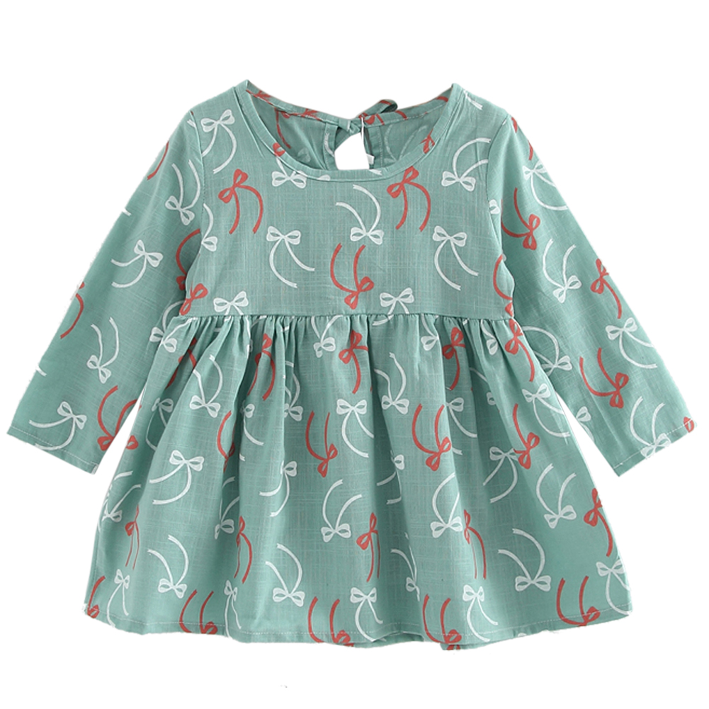 Girls Summer Dress Kids Girls Long Sleeve Bowknot Print Dress Soft Cotton Princess Dress Baby Girl Clothes girls summer Dress