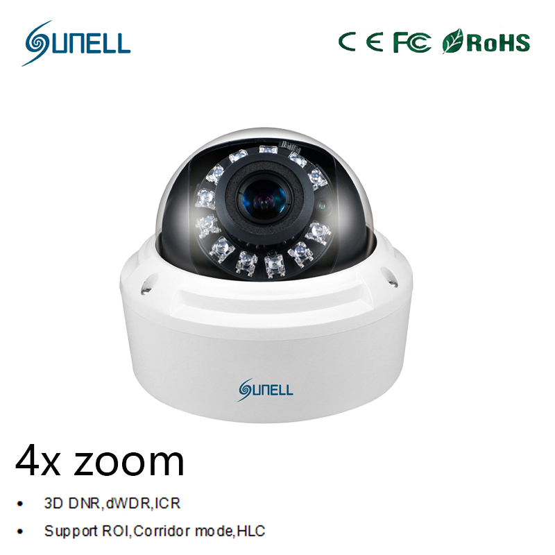 zk18 Sunell HD 2MP 4MP 1080P 4x Zoom Varifocal Lens Onvif POE IR Dome Network IP