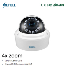 zk18 Sunell HD 2MP / 4MP 1080P 4x Zoom Varifocal Lens Onvif POE IR Dome Network IP Security Smart CCTV surveillance camera