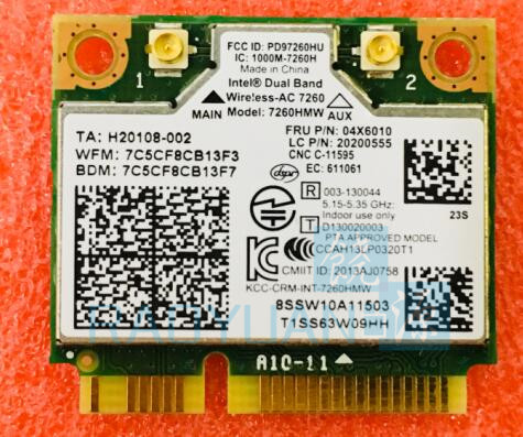 For Intel Dual Band Wireless-AC 7260HMW 7260AC FRU:04W3814 04X6010 Half Mini PCI-e WIFI Card For THINKPAD S1 S440 S540 E440 E540