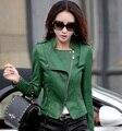 Mulheres jaqueta de couro 2017 nova moda de couro mulheres casaco de couro short slim motocicleta clothing outerwear fêmea z926