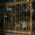 Cinco estrelas 2016 3 M x 3 M 300 LEVOU Para Casa Quente branco Decorativo Do Natal xmas Fada Cordas Cortina Guirlandas Luzes Do Partido 100-240 v