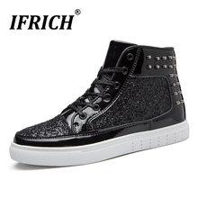 8b0d50c71 De Primavera de otoño de los hombres de la marca de lujo de calzado  tachonado zapatillas de deporte de moda para hombres alta de.