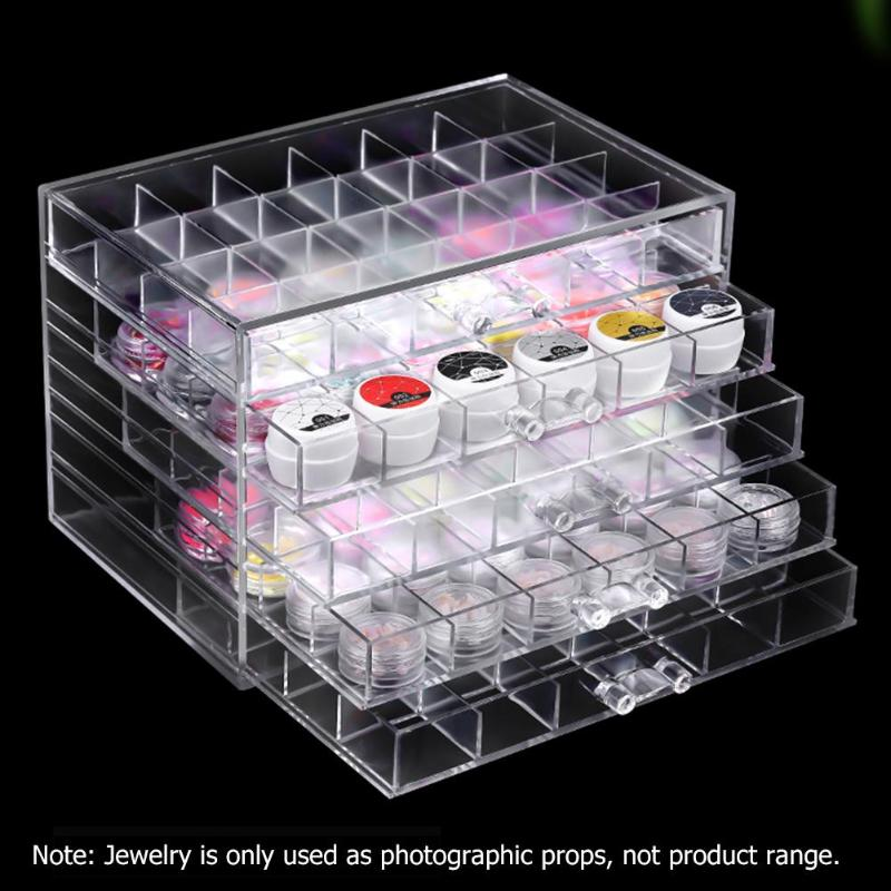 5 Layers Drawer New Clear Acrylic Storage Case Nail Polish Rack Storage Holder Makeup Organizer Desktop  Jewelry Cosmetic Box