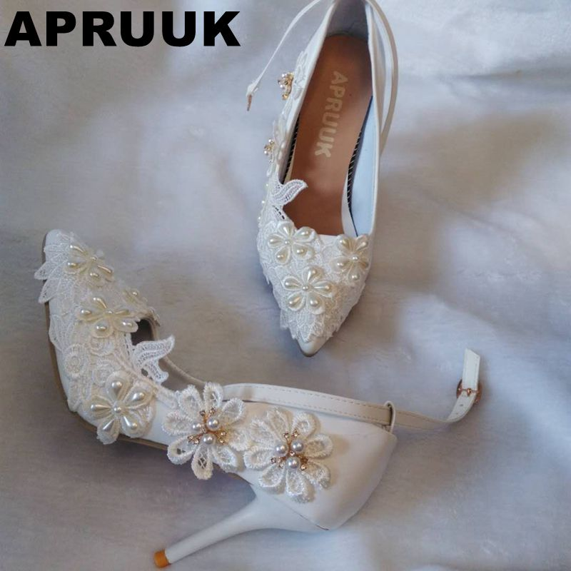 9CM thin high heels wedding shoes women sexy point toes crystal rhinestones lace flower wedding party pumps shoes white ...