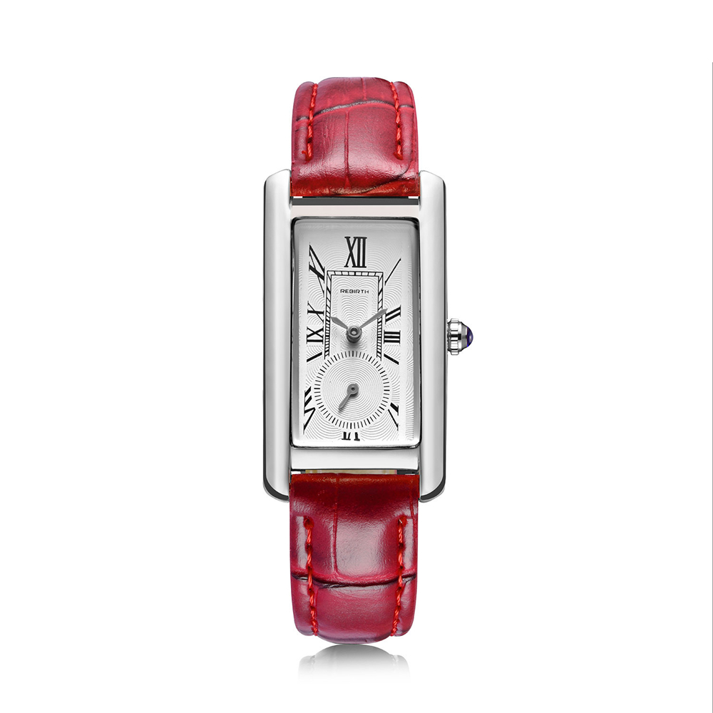 REBIRTH New Fashion Watch Women Slim Leather Strap Rectangle Casual Quartz Watch Ladies Popular Dress Watch Relogio Feminino
