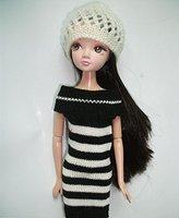 LeadingStar Fashion Mini Black and white stripes Sweater Dress For Barbie Doll ZK15