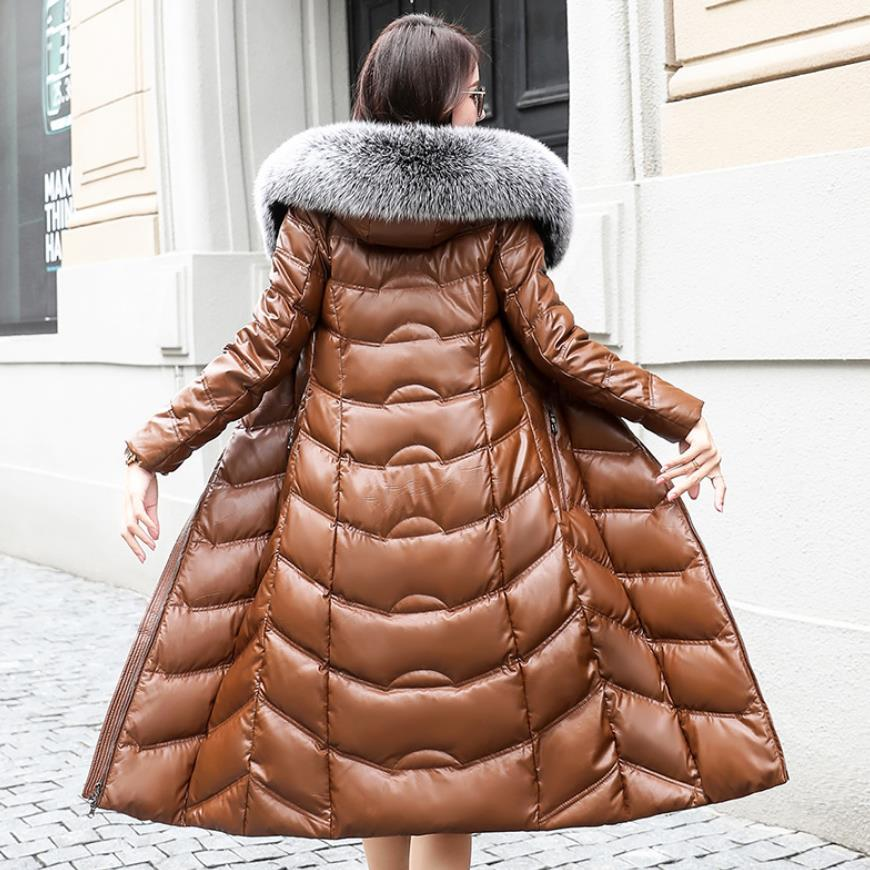 Winter fashion brand fox fur collar hooded 90% real duck down coat female real leather oversize longer thicker down parkas wq764