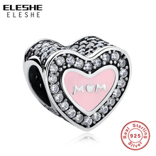hot deal buy 2019 new 925 sterling silver mom heart charms beads pink enamel fit original pandora charm bracelet crystal beads diy jewelry