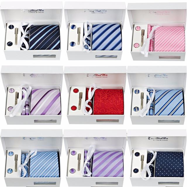 Alta Qualidade 2017 New Arrivals 8 CM Laços Estabelecidos para Homens Prendedores de Gravatas abotoaduras Quadrado Bolso Lenço Dos Homens de Gravata de Presente de Casamento caixa