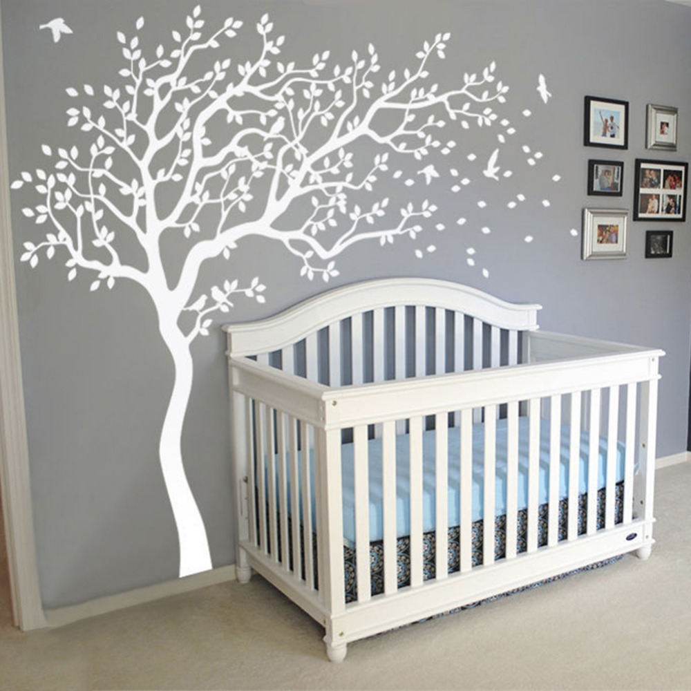 popular white wall decal buy cheap white wall decal lots from creative huge white tree wall decal sticker nursery decorative decals tree wall stickers for kids room