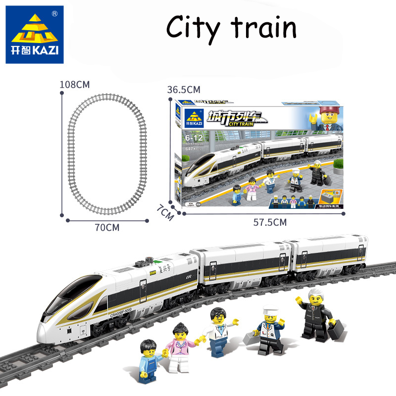 Original KAZI 98228 98229 battery powered electric train with track train children assembled building blocks children