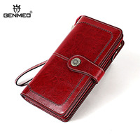 GENMEO New Genuine Leather Wallet Women Cow Leather Purse with Card Holders Hollow Pattern Female Clutch Bag Bolsa Feminina