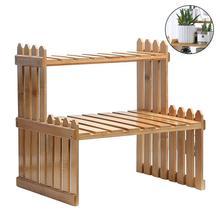 Nueva llegada estanterías para plantas de jardín de la flor estante de soporte de exhibición de pantalla de bambú soporte para estante de almacenamiento