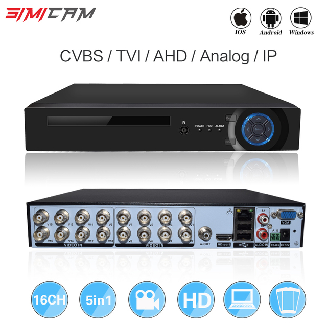 16CH 5in1 XVI AHD DVR desteği CVBS TVI AHD Analog IP Kameralar HD P2P Bulut H.264 VGA HDMI video kaydedici RS485 Ses