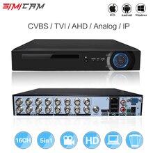16CH 5in1 XVI AHD DVR ondersteuning CVBS TVI AHD Analoge IP Camera HD P2P Cloud H.264 VGA HDMI video recorder RS485 Audio