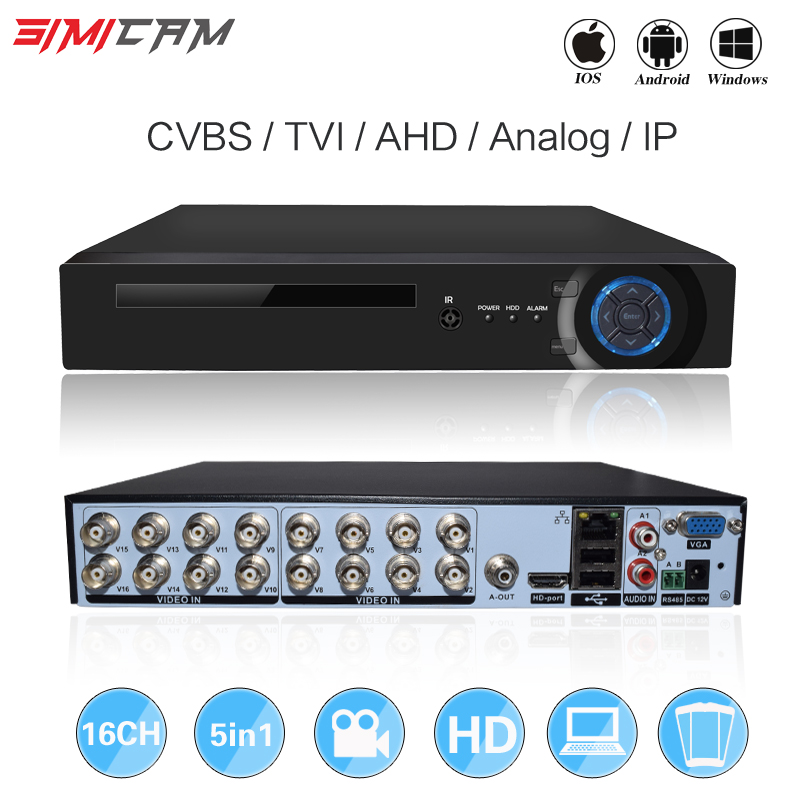 16CH 5in1 XVI AHD DVR supporto CVBS TVI AHD Analogico Telecamere IP HD P2P Cloud H.264 VGA HDMI video recorder RS485 Audio