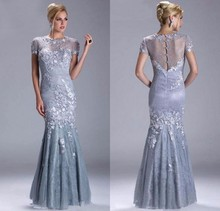 2013 Luxury Short Sleeve Appliques Lace Mermaid Long Prom Evening Dresses Gowns M1419