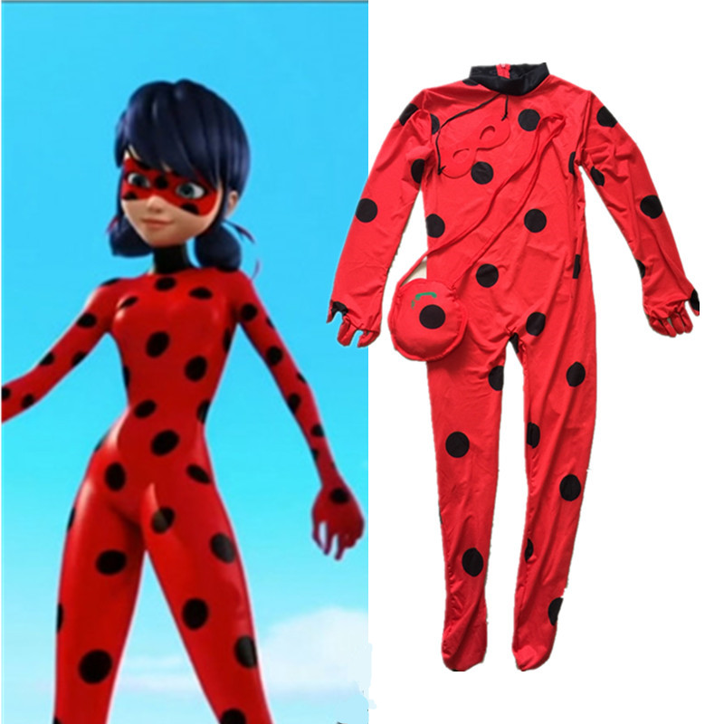 Girls Kids Zip The Miraculous Ladybug Cosplay Costume Christmas New Year Marinette Child Lady Bug Spandex Full Lycra Zentai Suit