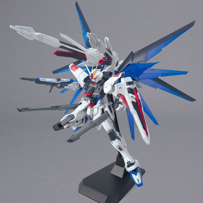 Image 5 - MG Strike Freedom Gundam 1/100 Blue Robot model hot Kids Toy Anime action figures collectibles gift Attached bracket juguetes-in Action & Toy Figures from Toys & Hobbies